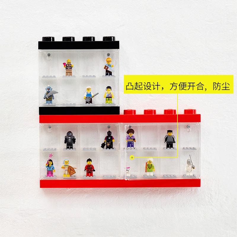 Room乐高玩具收纳盒lego展示柜积木人仔儿童方头仔挂式亚克力防尘