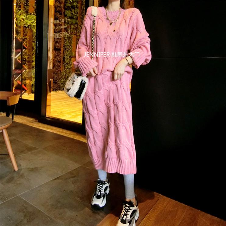 超级温柔粉红色~韩国东大门立体麻花棒针粗毛线厚过膝长款连衣裙