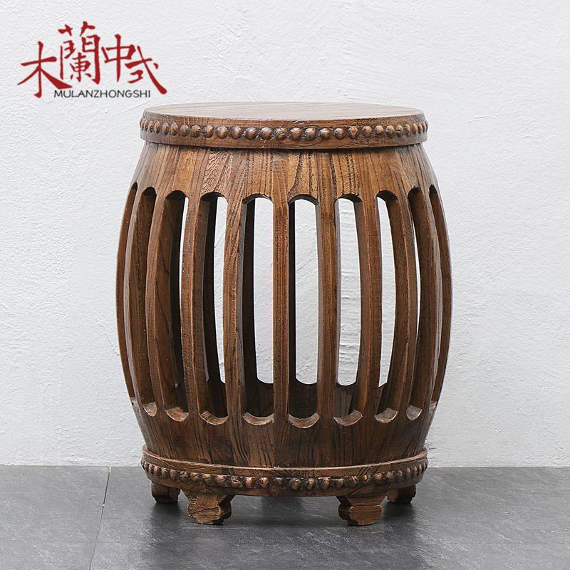 包郵北方老榆木鼓凳\中式仿古做舊純實木繡墩\圓凳明清古典梳妝凳