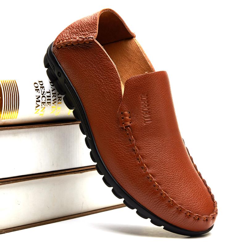 夏季中老年爸爸鞋软底真皮凉鞋男士透气休闲皮鞋中年大码洞洞男鞋