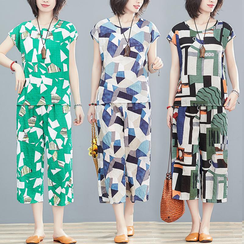 绵绸睡衣女夏季时尚外穿碎花两件套