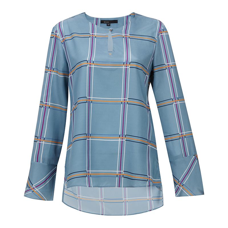 长袖格子衬衫雪纺衫薄上衣韩版衬衣小衫打底衫2018秋装新款女装潮