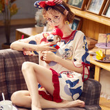2020 new pajamas ladies summer cotton cute Japanese short-sleeved large size summer thin home service two-piece suit