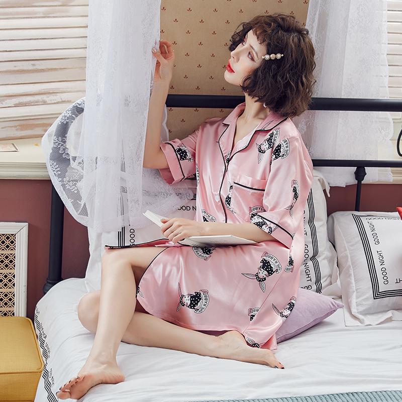 夏季少女士睡衣薄款冰丝性感甜美中长衬衫男友风宽松雪纺私房睡裙【图5】