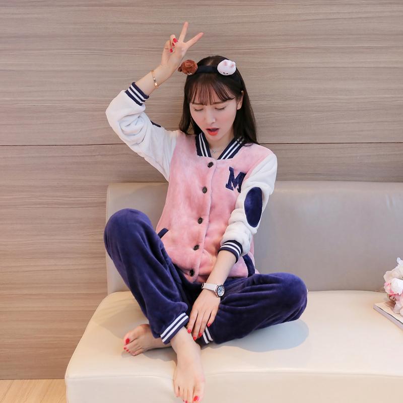 珊瑚绒睡衣女秋冬季韩版加厚宽松保暖法兰绒开衫家居服女外穿套装