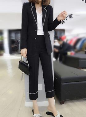 欧洲站2021女装新款春装欧货韩版气质御姐风小西装时尚套装两件套