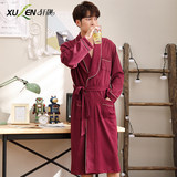 Nightgown men's spring and autumn cotton long-sleeved long-sleeved pajamas men's thin section integrated cotton bathrobes XL bathrobes