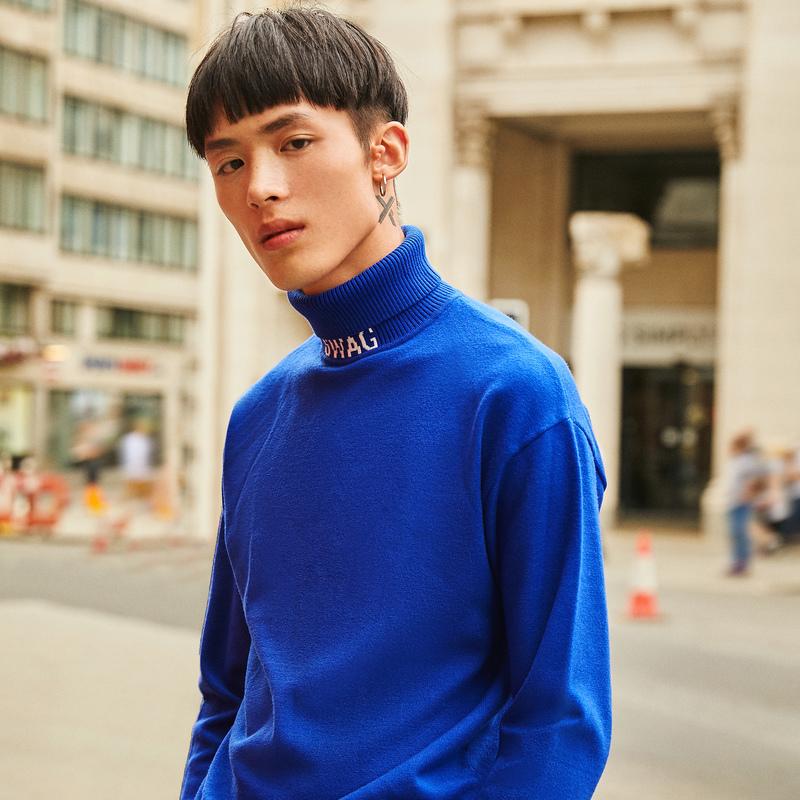 卡宾男装时尚套头宽松长袖针织衫2018秋新款韩版潮流高领毛衣H