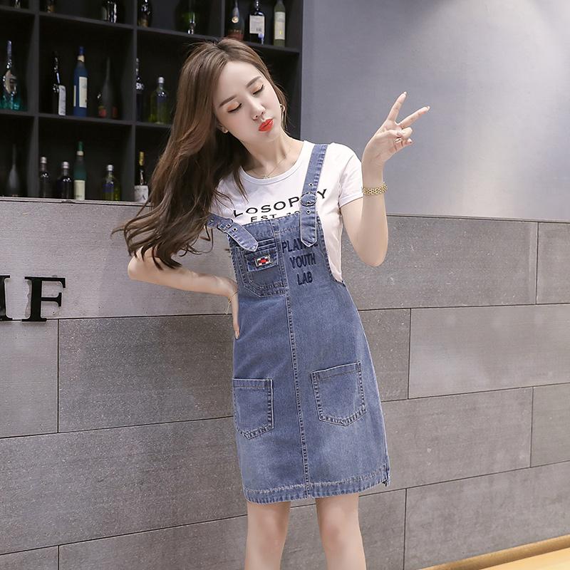牛仔背带裙女夏季2021年新款女装韩版减龄小个子连衣裙子套装春秋主图