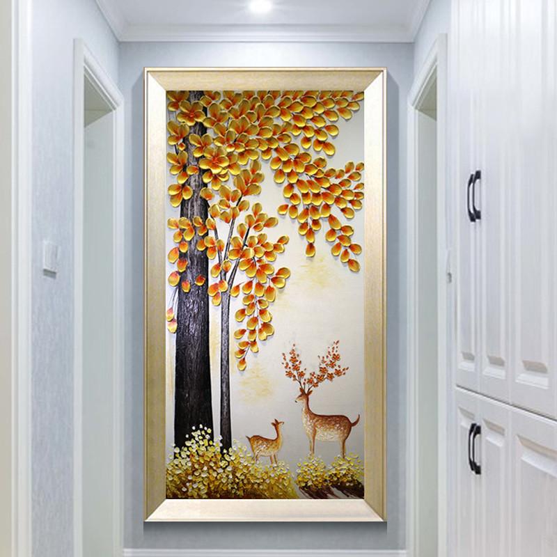 玄关装饰画发财树油画手绘现代简约走廊过道壁画定制欧式3d招财鹿