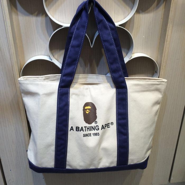 日本潮牌 安逸猿 單肩 經典橫款帆布包 環保購物袋 學生書包
