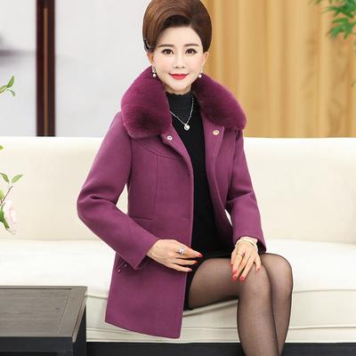 妈妈装冬装毛呢外套40岁50中年女秋冬呢子大衣中老年女装毛呢外套