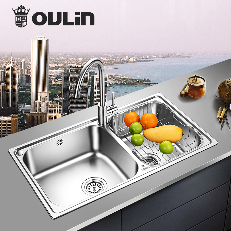 欧琳水槽双槽 304不锈钢水槽套餐 厨房洗菜盆双槽套餐加厚洗菜池