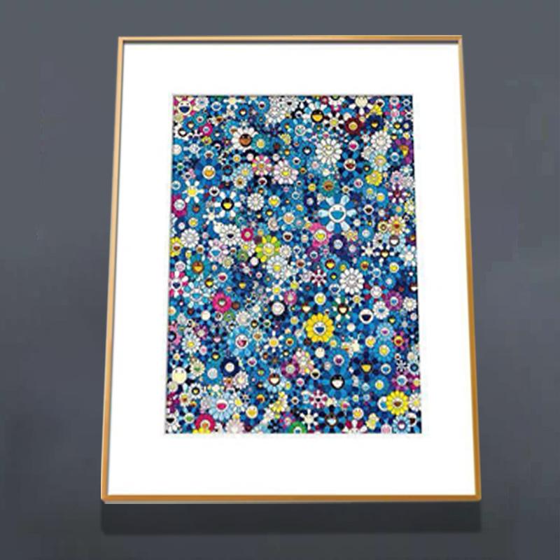 浩宇現代裝飾畫太陽花簽名限量村上隆版畫 向國際克萊因藍致敬IKB