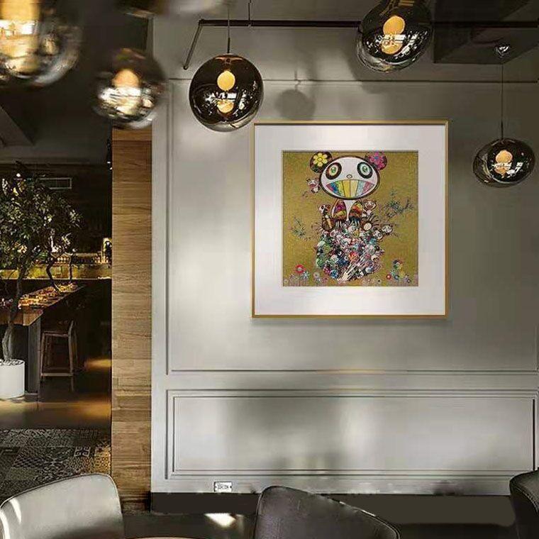 装饰画日本艺术家村上隆版画PANDA签名限量 熊猫家族 金银蓝三色