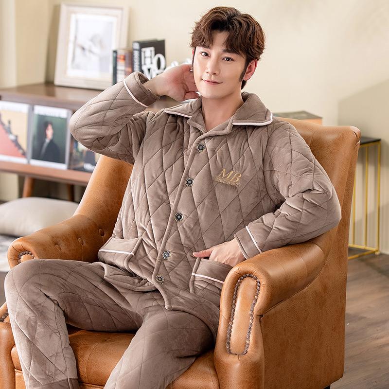 男士睡衣冬季三层加厚加绒珊瑚绒法兰绒夹棉秋冬款保暖家居服套装