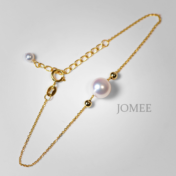 黄金可调节手链 18K 单颗 8mm 7 镜面海水珍珠 Akoya 日本 珍珠 JOMEE