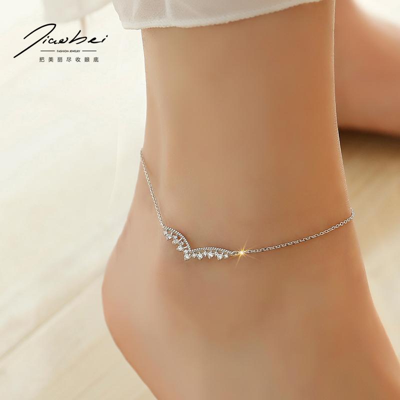 925银脚链 女韩版简约复古脚链子性感女款个性百搭足链脚环脚踝链