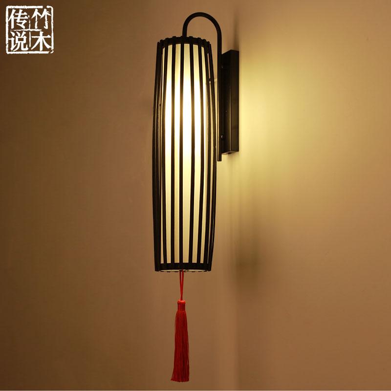 手工创意日式餐厅装饰壁灯东南亚客栈客厅床头卧室壁灯墙上竹灯具
