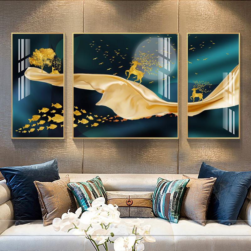 客厅装饰画现代轻奢大气沙发背景墙壁画餐厅墙画高档挂画金鹿携福