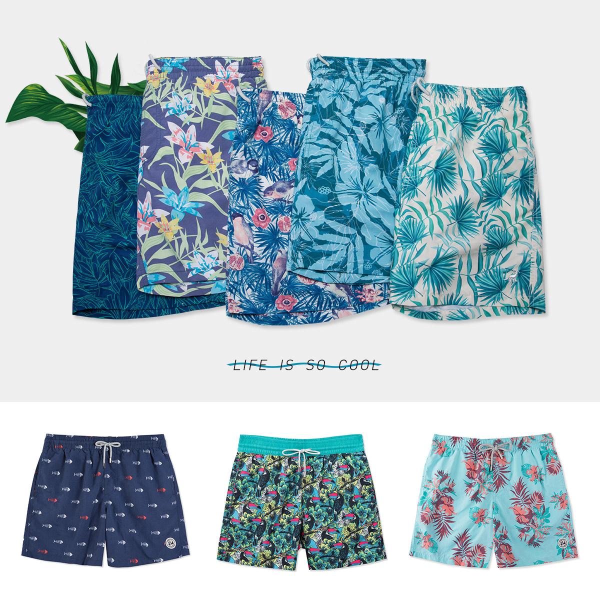 surfcuz温泉男士休闲短裤速干宽松大码海边度假可下水沙滩泳裤男