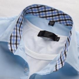 衬衣淡蓝色长袖大码薄款男款衬衫男气质长款时尚白色粉色短袖洋气