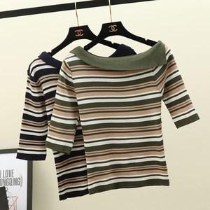 初秋新款学院风一字领条纹冰丝针织衫中袖修身百搭打底衫上衣女