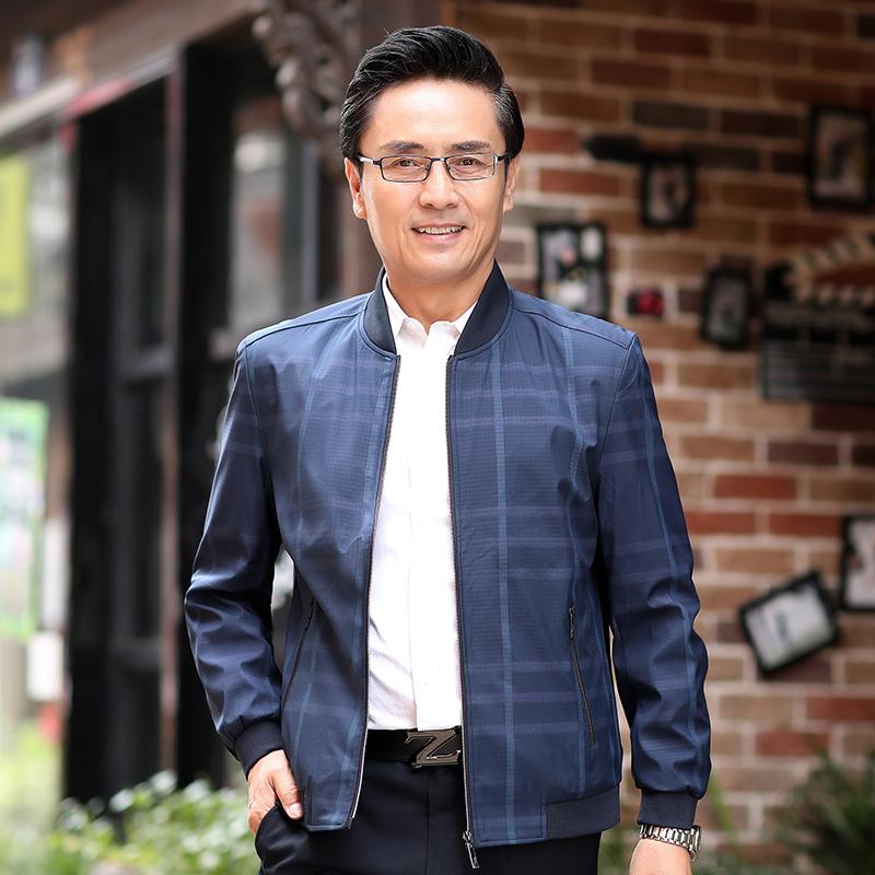 FRAMYSTICAL/梵匡男士外套爸爸装中年立领时尚休闲夹克男装薄外套