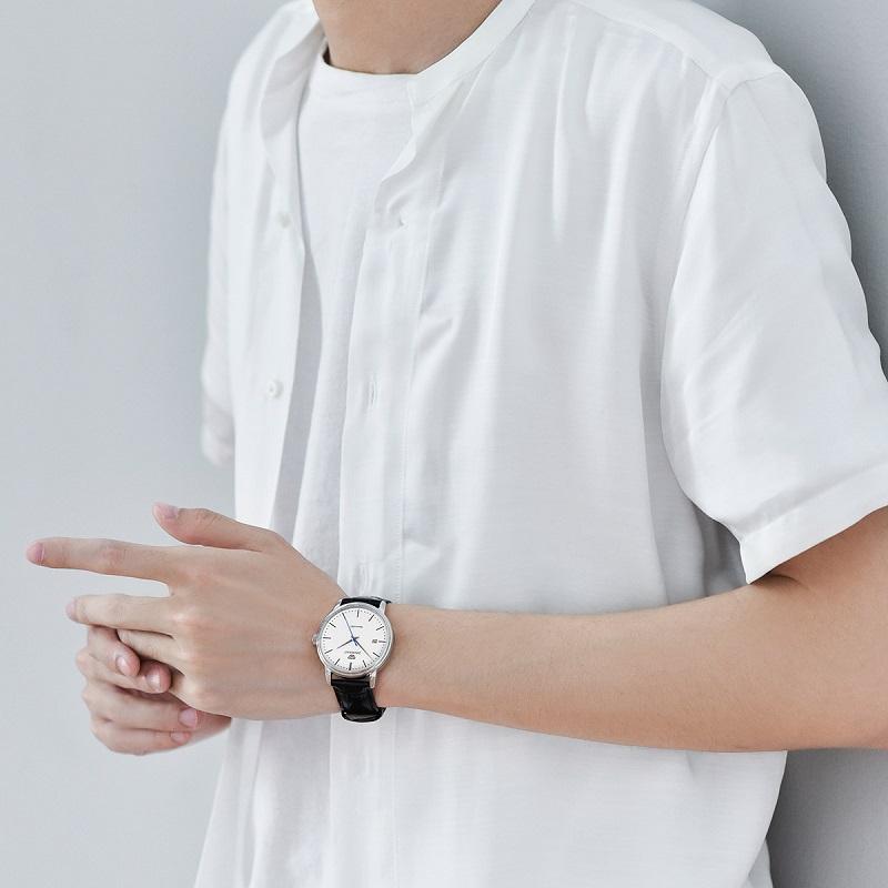 天王表男士皮带自动机械手表时尚商务防水休闲男表正品简约腕表