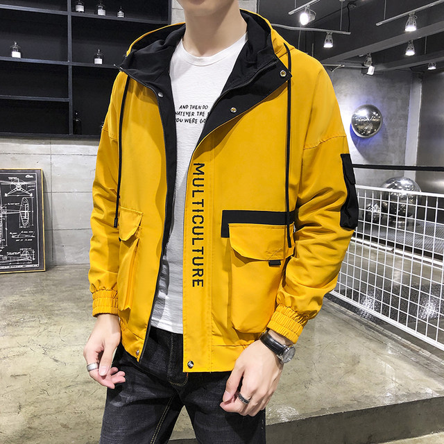 Workwear jacket men's autumn bf wind casual loose handsome hooded jacket student Korean trend sports top