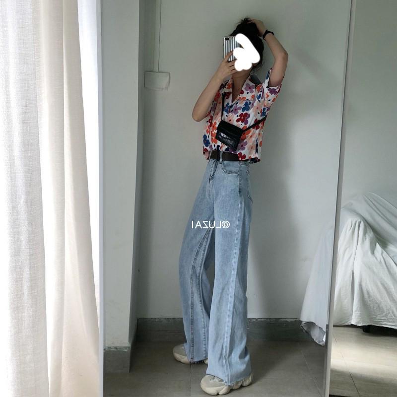 胖妹妹2020春装新款大码女装宽松阔腿牛仔裤适合胯宽大腿粗的裤子