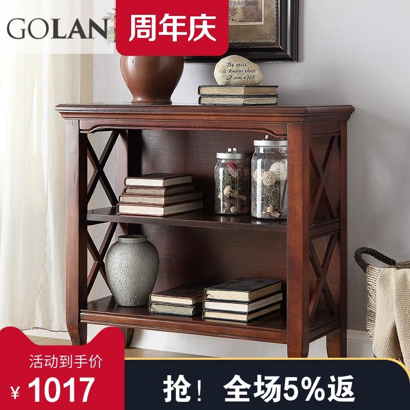 廣蘭美式小酒櫃雙層櫃儲物置物架書架沙發邊櫃多功能收納櫃0302B