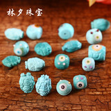 Natural raw ore Hubei Zhushan Yungai Temple Shiyan turquoise pure hand-carved pieces