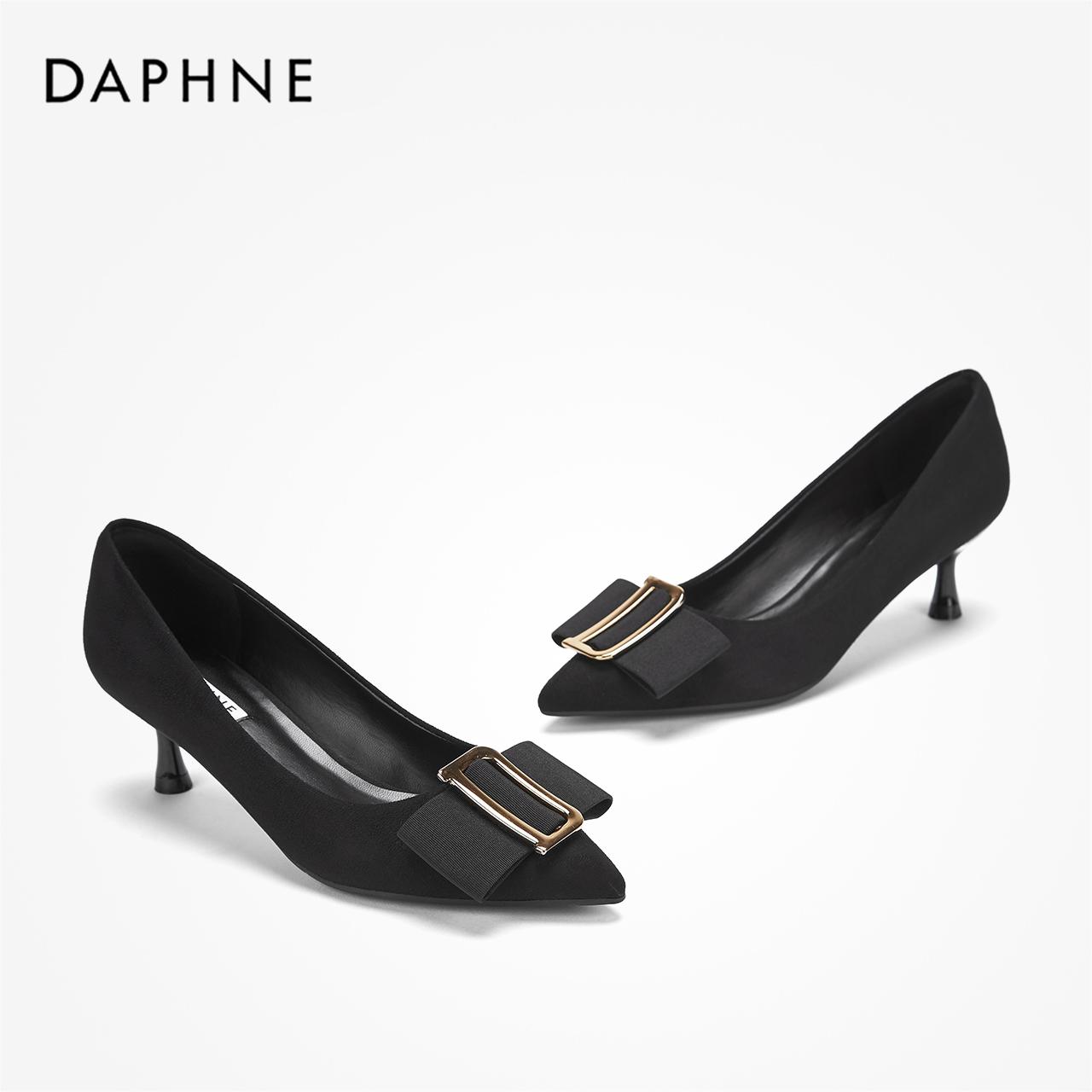 秋优雅方扣小猫跟单鞋气质绒面浅口通勤鞋 2019 达芙妮 Daphne