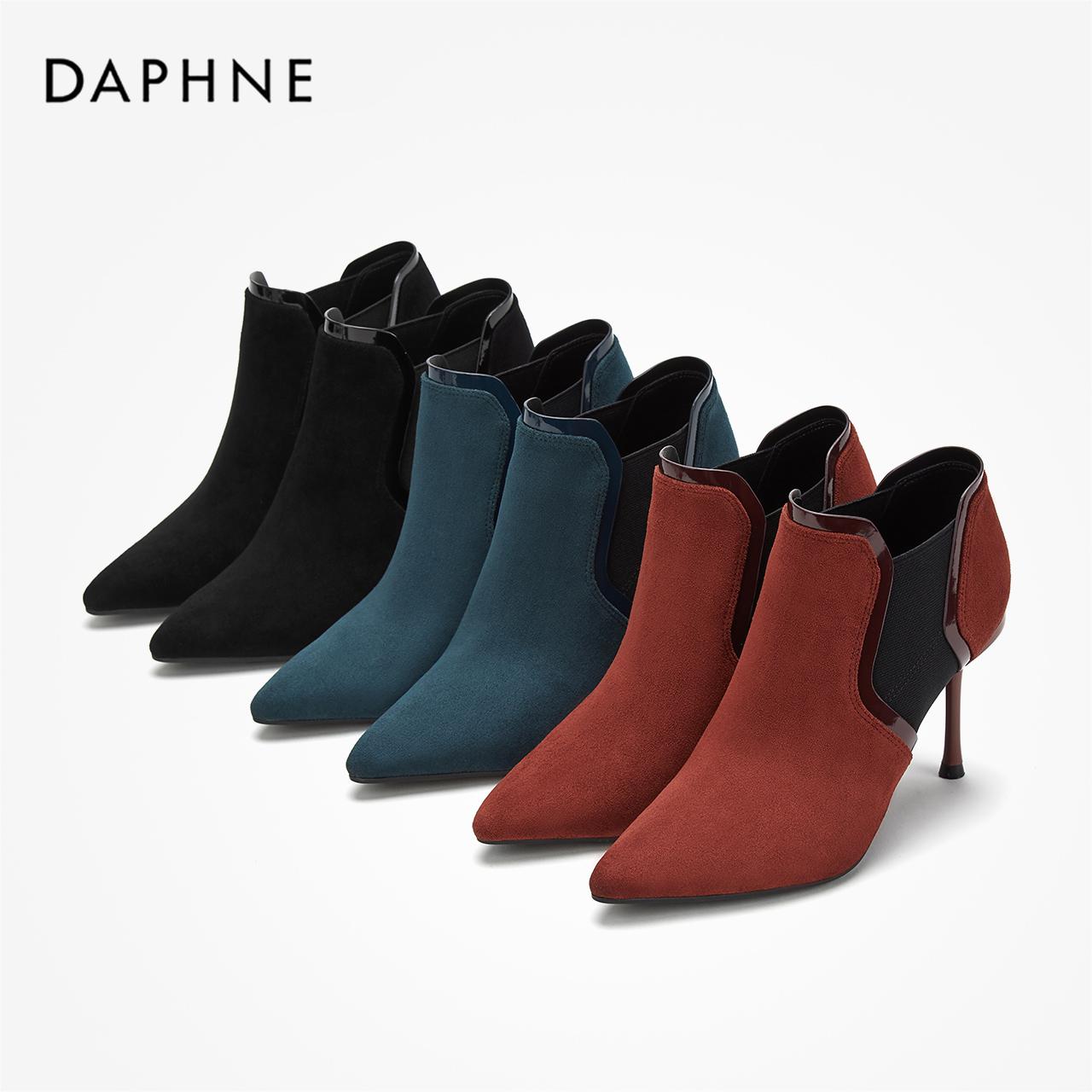 冬尖头时装靴高跟宴会靴绒面酒杯跟细跟及踝靴 2019 达芙妮