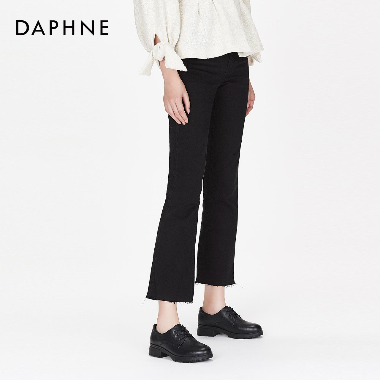 秋新款简约牛皮圆头牛津鞋休闲纯色系带单鞋女 2018 达芙妮 Daphne