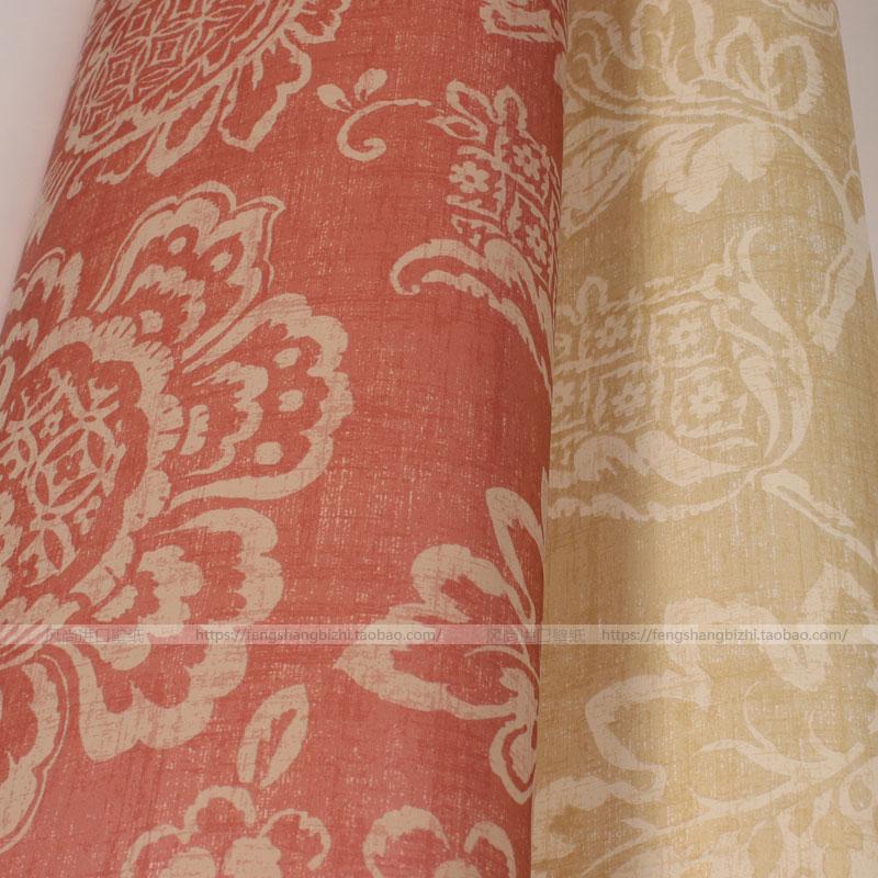 美式大花红黄色底 美国进口seabrook环保 纯纸壁纸 客厅 锡布鲁克