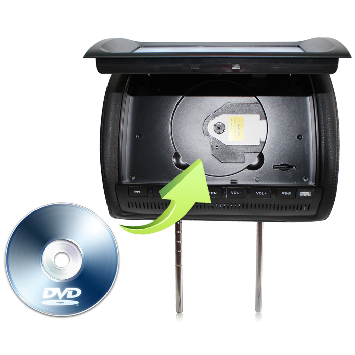 9寸通用头枕DVD显示器 通用头枕液晶电视连接DVD导航播放视频MP5