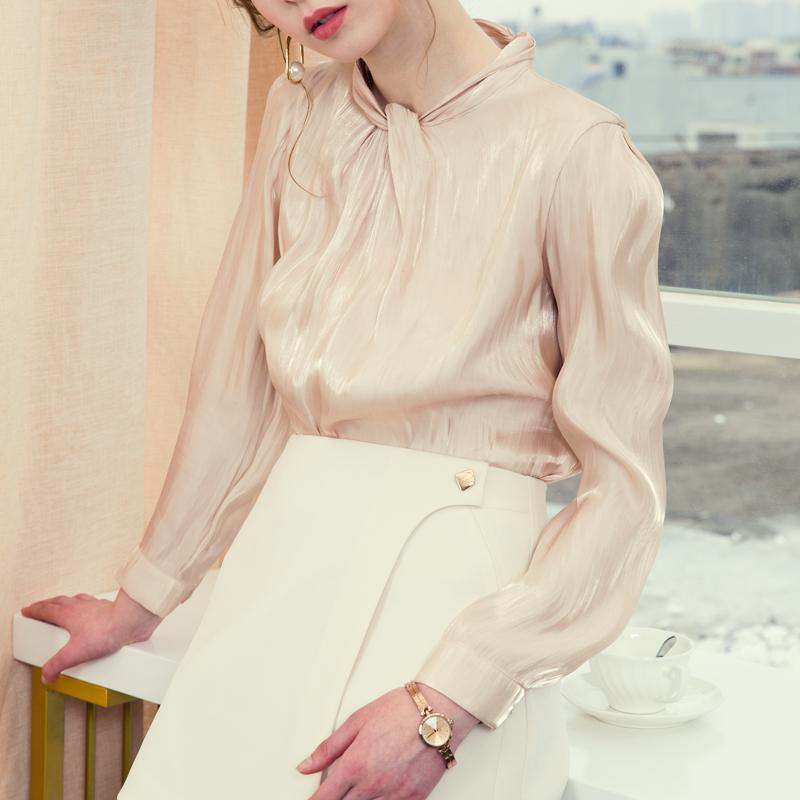 2020新款设计感小众高领女装衬衫打底洋气红色衬衣女士上衣春款