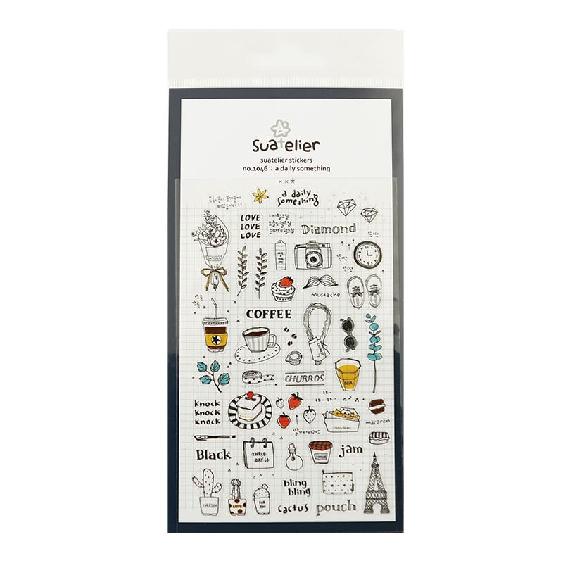 洛林韩国手帐小贴纸套装手机贴卡通装饰复古手账本工具贴画素材
