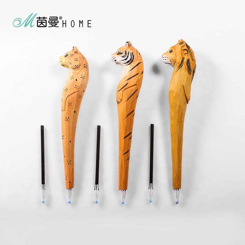 茵曼home简约可爱手工文具实木雕刻动物笔创意文艺中性笔礼物