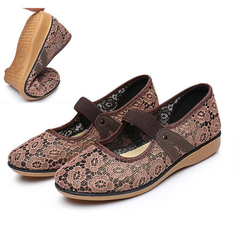 老北京布鞋夏款女式中老年人網布鏤空涼鞋防滑軟底舒適透氣鞋媽媽