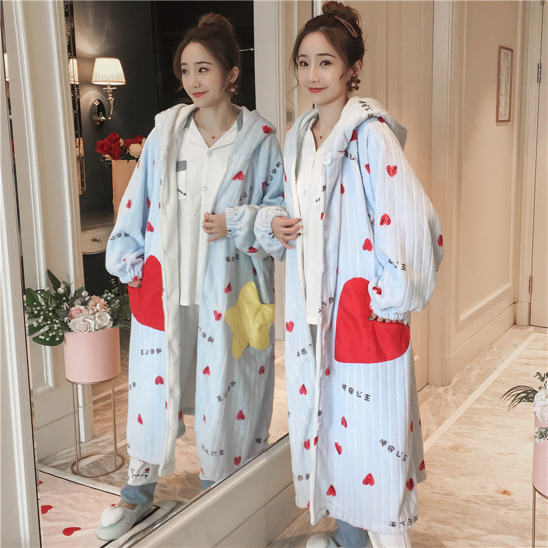 Pajamas Female Autumn And Winter Coral Velvet Thick Warm Night Skirt Winter Night Robe Flannel Pregnant