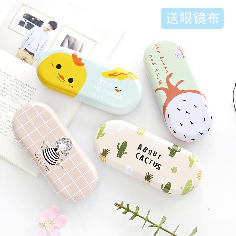 尚派小清新铁艺眼镜盒卡通创意马口铁眼镜收纳盒 韩国学生眼镜盒