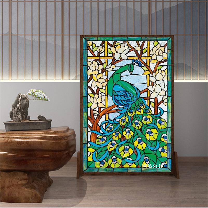 现货蒂凡尼美式门窗屏风隔断玻璃欧式吊顶 彩色玻璃孔雀挂屏手工