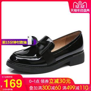 骆驼漆皮女鞋秋新款低跟蝴蝶结单鞋圆头休闲妈妈鞋红色韩版潮