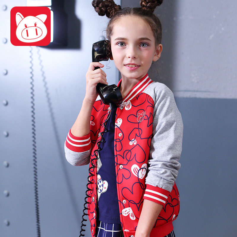 小豬班納童裝女童外套2019春秋新款女孩夾克開衫中大童兒童棒球服