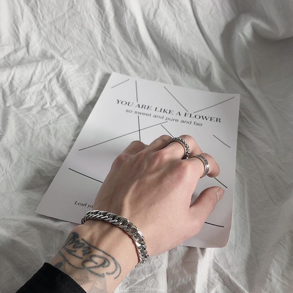 新款  网红简约冷淡风情侣饰品纯色链条钛钢宽手链男女 ins SAZ 2019