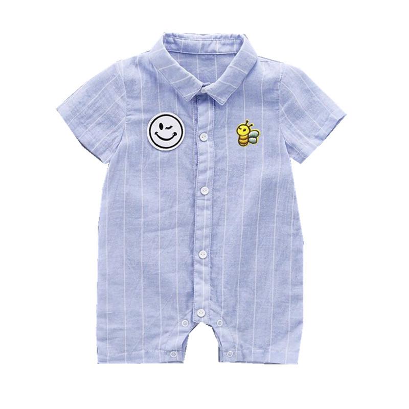 婴儿polo衫连体衣男宝宝亚麻薄款条纹衬衫哈衣笑脸蓝色短袖爬爬服