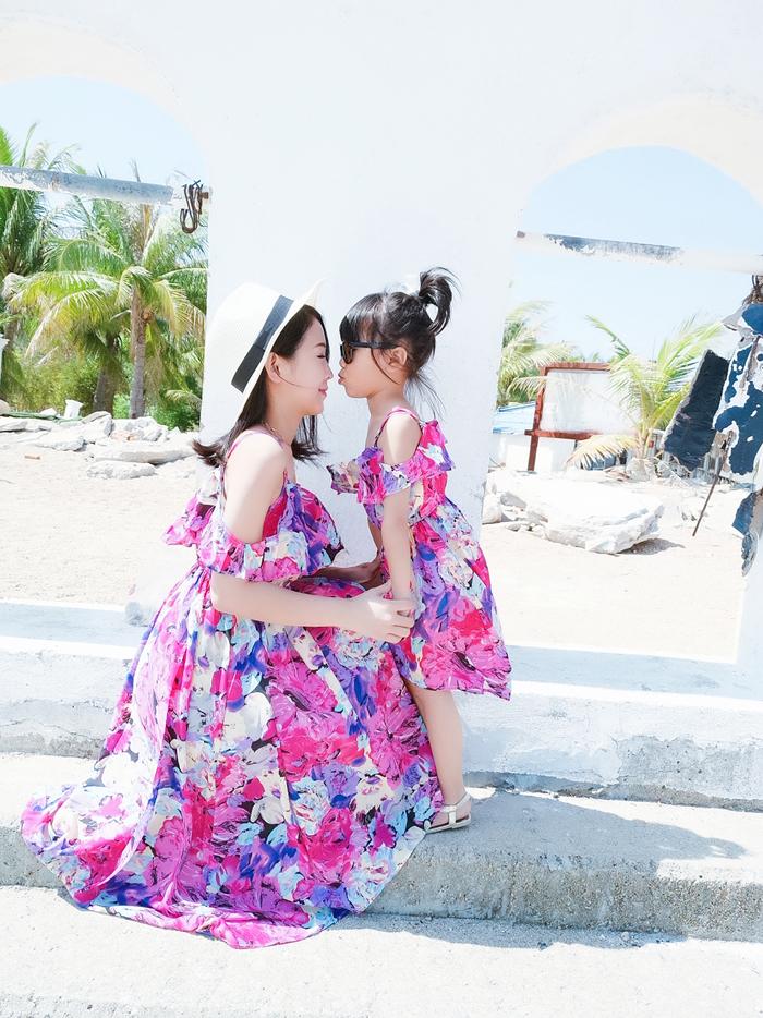 亲子装2019新款夏母女装沙滩一家三口海边度假大码长裙雪纺连衣裙